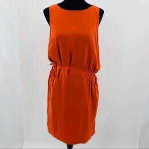 Vince. Orange Silk Sleeveless Shift Cocktail Dress
